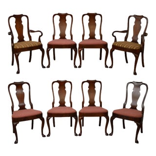 18th Century Style Hickory Chair Mahogany Queen Anne Dining Chairs - Set of 8