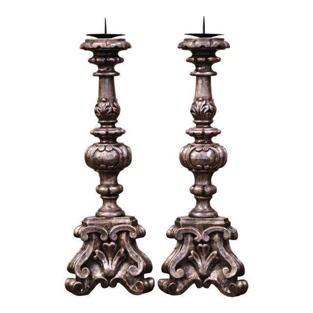Mid-Century Italian Carved Silver Leaf Candlesticks Prickets - a Pair For Sale