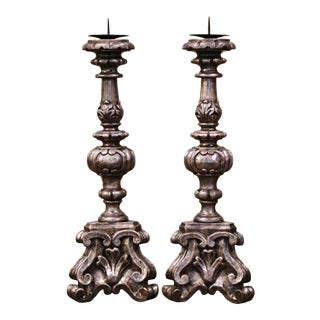 Pair of Mid-Century Italian Carved Silver Leaf Candlesticks Prickets For Sale