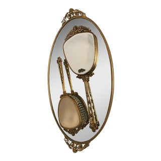 Hollywood Regency 24k Gold Vanity Set - 3 Pc. For Sale