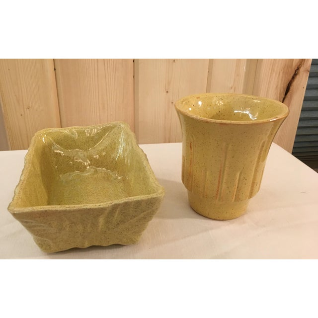 Mid-Century Modern Mustard Speckled Planters - A Pair - Image 10 of 11