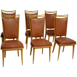 French Art Deco Side Chairs, Set of Six For Sale