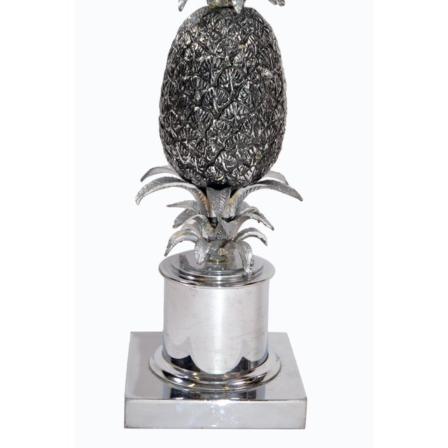 Chrome Maison Charles Chrome & Nickel Pineapple Table Lamp French Provincial 1960s For Sale - Image 8 of 10