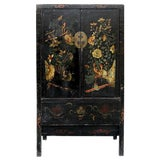 Image of 19th Century Chinoiserie-Style Black Elm Cabinet For Sale