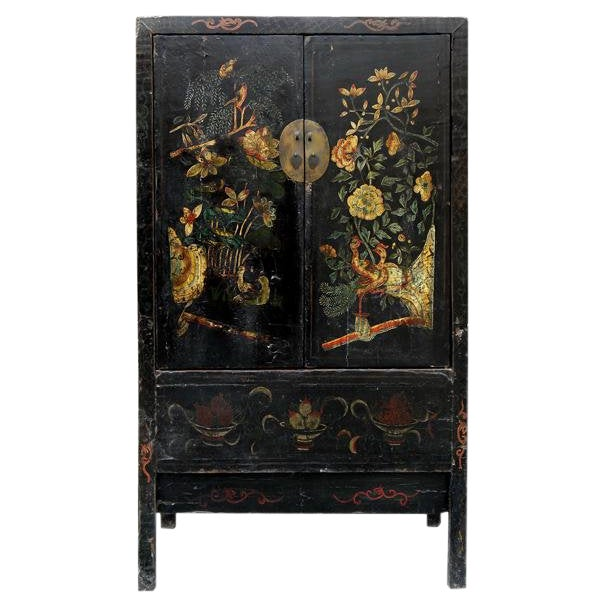 19th Century Chinoiserie-Style Black Elm Cabinet For Sale