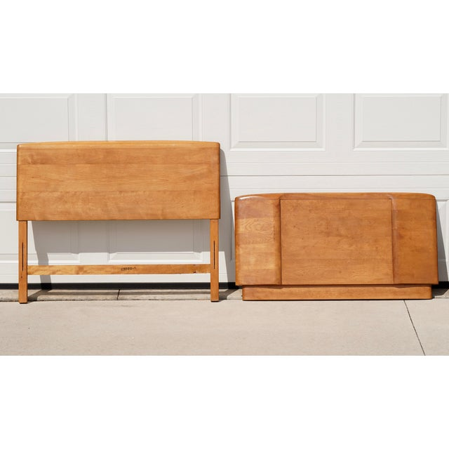 Wood 1960s Mid Century Heywood Wakefield Champagne Twin Bed Headboard and Footboard - 2 Pieces For Sale - Image 7 of 7