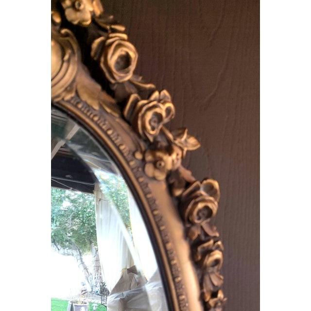 Brass 19th C. Renaissance Revival Gesso & Carved Giltwood Oval Beveled Wall Mirrors - a Pair For Sale - Image 8 of 13