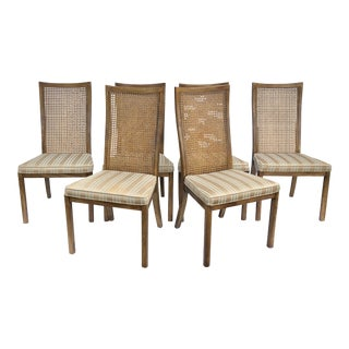Set of Vintage Modern Cane Back Dining Chairs by Drexel For Sale
