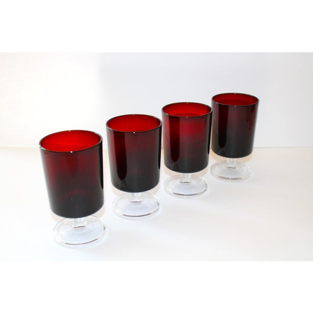 1960s Set of 8 Mid-Century Modern Crystal Wine Glasses in Red, 1960's For Sale - Image 5 of 13
