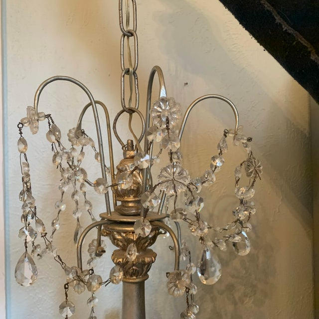 1940s 1940s Italian Crystal and Silver Gilt Iron Four Arm Chandelier For Sale - Image 5 of 12