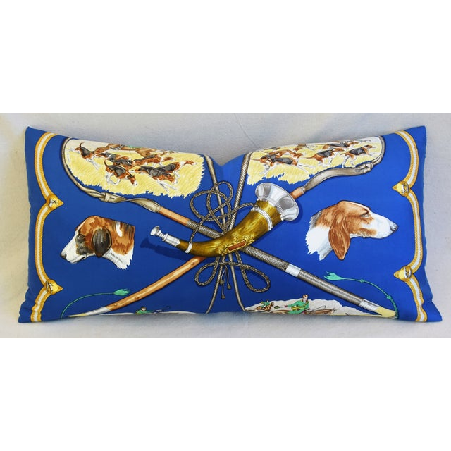"""Early 21st Century Hermes Le Laissed Courre Hunt & Hounds Silk Feather/Down Pillow 34"""" x 17"""" For Sale - Image 5 of 12"""