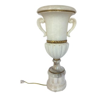 Vintage Tall Carved Alabaster Marble and Bronze Urn Table Lamp For Sale