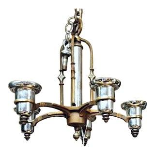Antique Art Deco 5 Arm Bronze Nickel Chandelier For Sale
