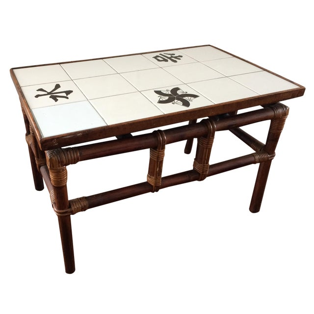 Ficks Reed Mid Century Bamboo & Tile Table - Image 1 of 9