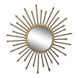 Image of Vintage French Sunburst Convex Mirror Chaty For Sale