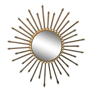 Vintage French Sunburst Convex Mirror Chaty