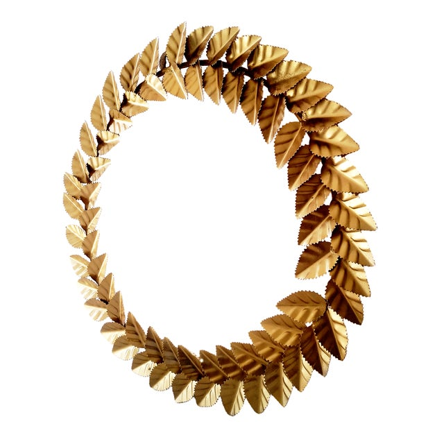 Modern Metallic Gold Leaf Round Christmas Wreath For Sale - Image 4 of 6
