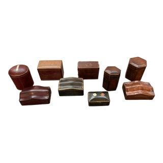 Set of 9 Unique Leather Boxes For Sale