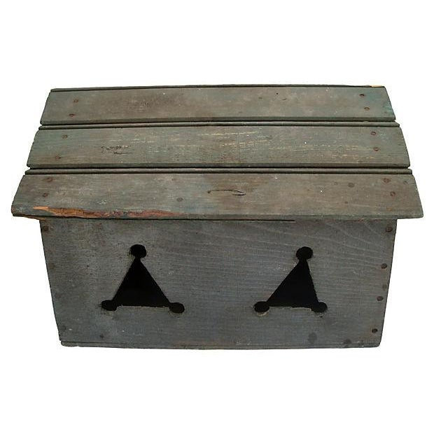 One-of-a-kind rustic handmade folk art bird house built using found materials including an old wood crate, and tongue and...
