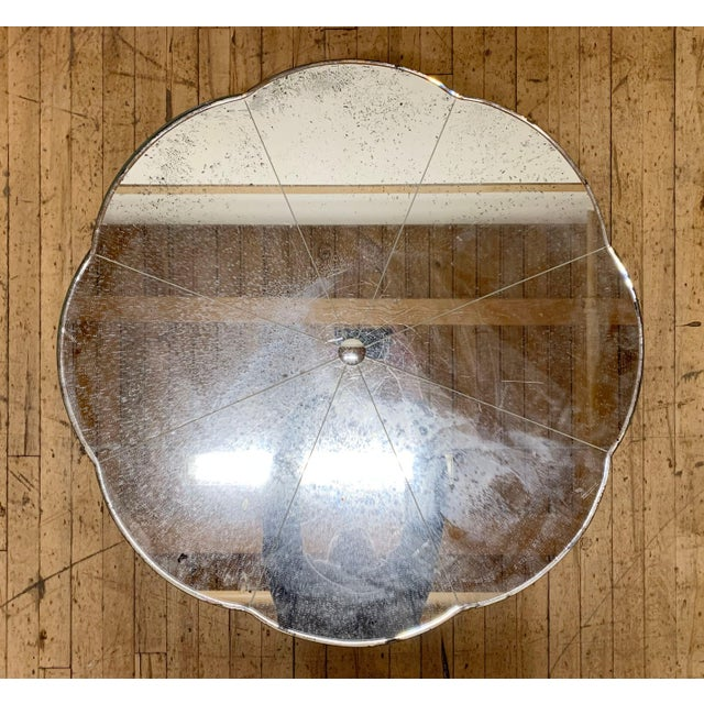 Period French / Italian deco mirrored coffee table. This is a distressed original example of a applied mirror over wood...