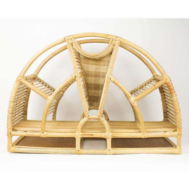 Mid-Century Modern 1970s Bohemian Rattan and Wicker Style Wall Desk Organizer For Sale - Image 3 of 12