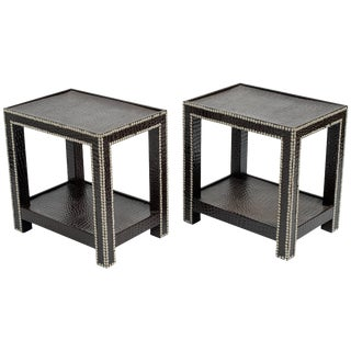Pair of Dransfield and Ross Faux Crocodile Two-Tier End Tables For Sale