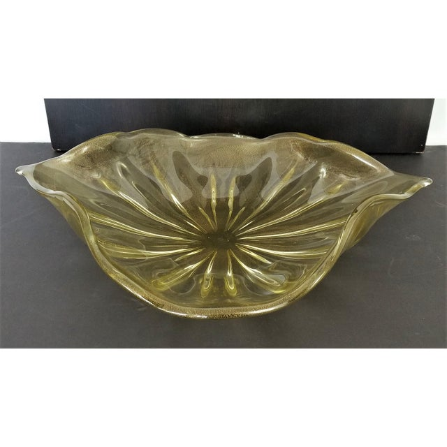Offering an EXTRA LARGE authentic Murano glass centerpiece bowl, made in Italy by Alfredo Barbini, circa 1950s. This...