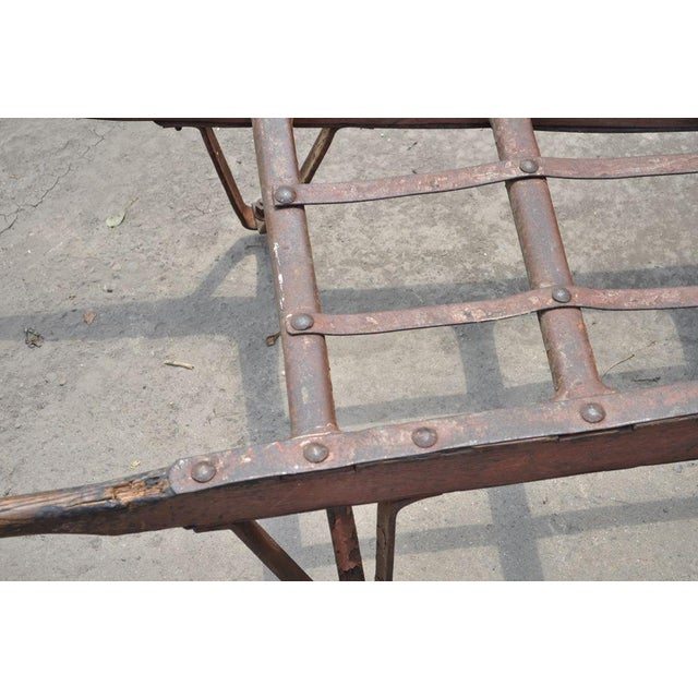 Brown Antique Industrial Steampunk Distressed Iron & Wood Hand Truck Cart Coffee Table For Sale - Image 8 of 11