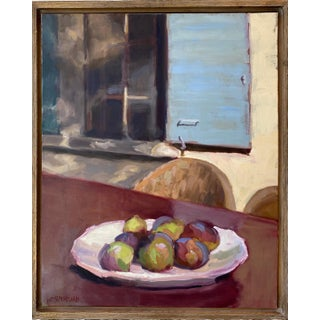 """Figs in France"" Contemporary Still Life Oil Painting by Susan Westmoreland, Framed For Sale"