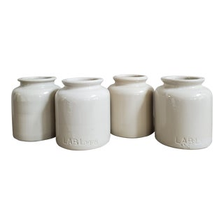 French Stoneware Mustard Crocks, 4 Piece - Set of 4 For Sale