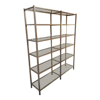 Room & Board Metal and Glass Bookcase For Sale