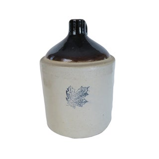 Antique Western Stoneware Co. Pottery White Brown and Blue Maple Leaf Crock Whiskey Jug For Sale