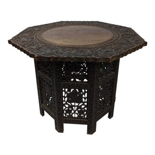 Antique Indian Bombay Blackwood (Rosewood) Profusely Carved Side Table For Sale