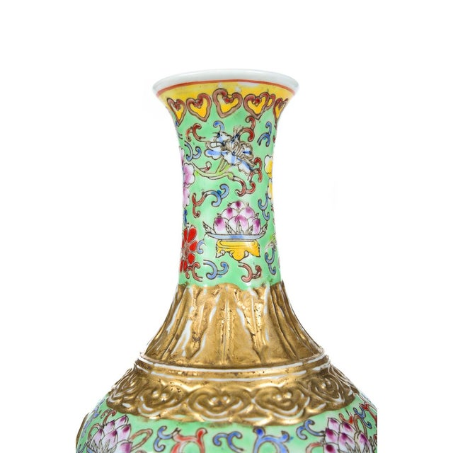 Sophisticated Antique Chinese Famille Rose Green Gold Vases A