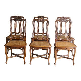 Early 20th Century Antique French Splat Back Cane Seat Dining Chairs- Set of 6 For Sale