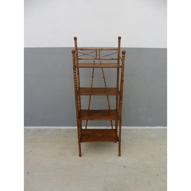 Brown 19th Century Victorian 4 Tier Bamboo Etagere For Sale - Image 8 of 10