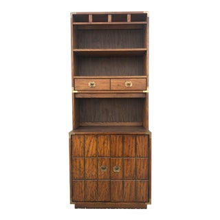 Mid Century Modern Campaign Style Cabinet With Shelving For Sale