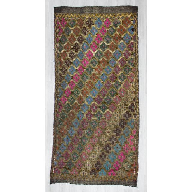 Vintage Turkish Embroidered Kilim Rug- 4′10″ × 10′2″ - Image 2 of 6