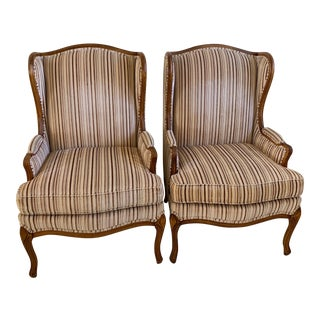 Vintage Weinman Queen Anne Style Wingback Chairs With Wood Detail - a Pair For Sale