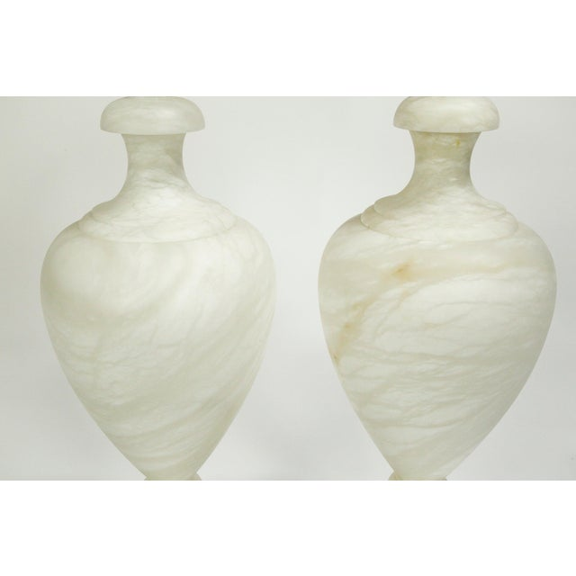 2010s Alabaster Amphora Shaped Mother Lamp Lit From Within For Sale - Image 5 of 12