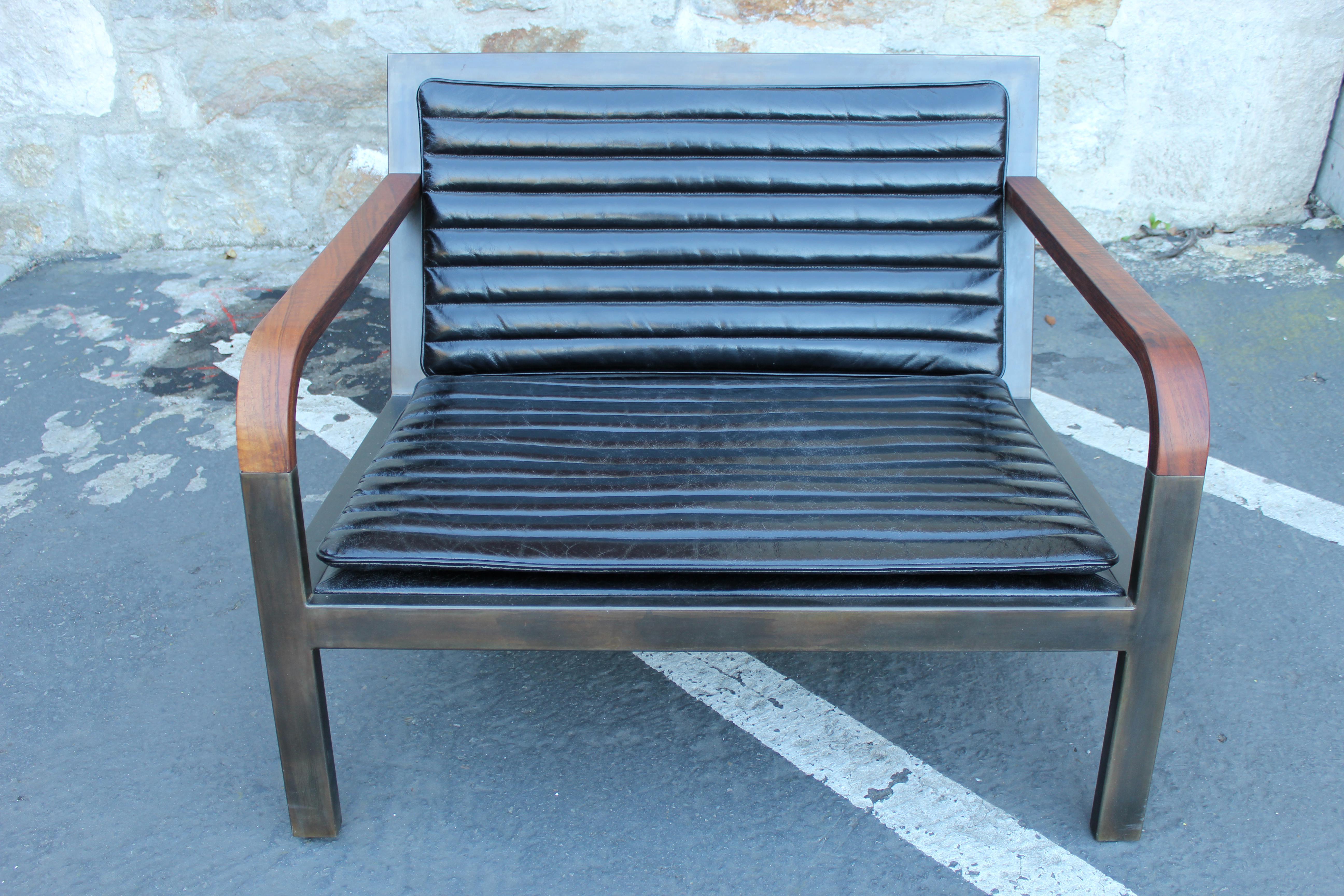 225 & Uhuru Design Breini Black Leather Armchair