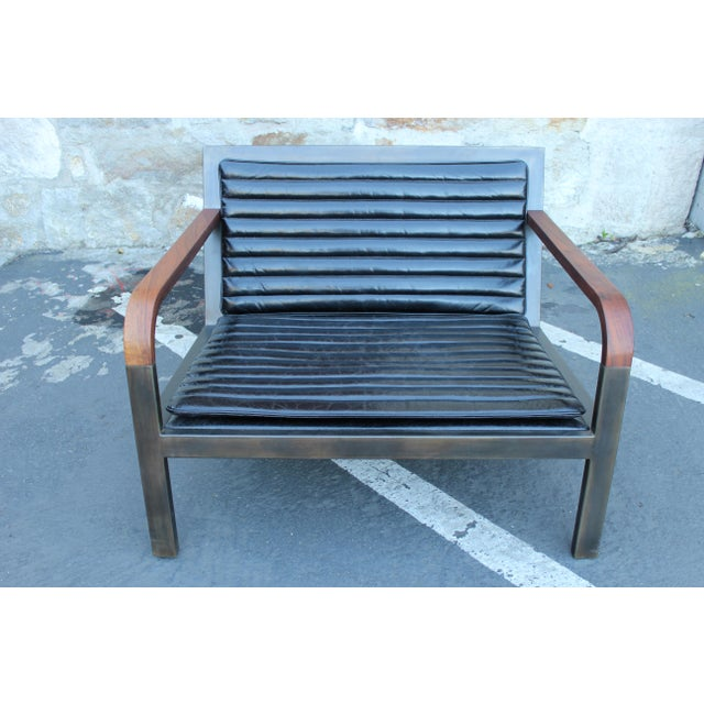 2010s Uhuru Design Breini Black Leather Armchair For Sale - Image 5 of 8