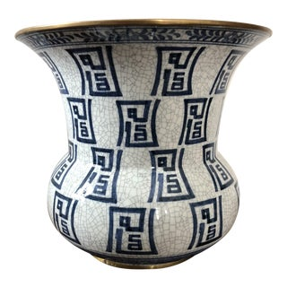 Maitand Smith Blue and White Crackle Glaze Vase For Sale