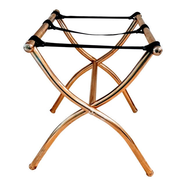 Late 20th Century Brass Luggage Rack / Valet For Sale