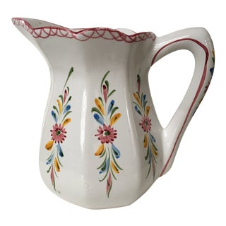 Late 20th Century Vintage Portuguese White Floral Hand Painted Ceramic Pitcher For Sale