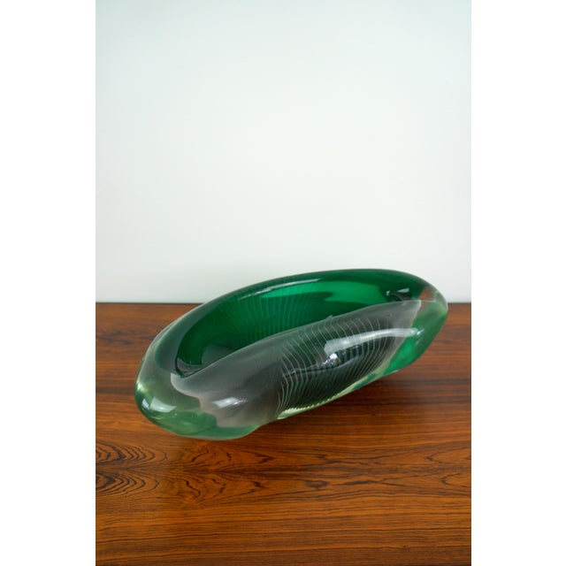 Important Sculptural Art Glass Bowl By Alfredo Barbini. Green with clear glass.
