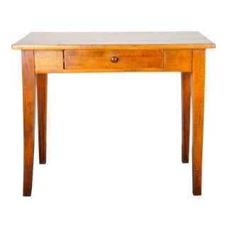 1950's French Farmhouse Style Oak Writing Desk W/ One Drawer For Sale