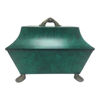 1950s Faux Malachite Lidded Box with Feet and Hands Motif For Sale