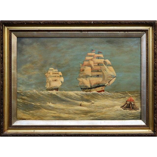 VIntage 1870s Schooners Under Sail Oil Painting - Image 1 of 3