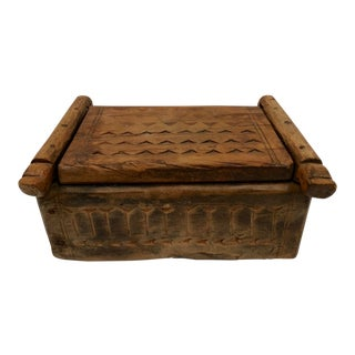 1950s Folk Art Hand Carved Wood African Trinket Box